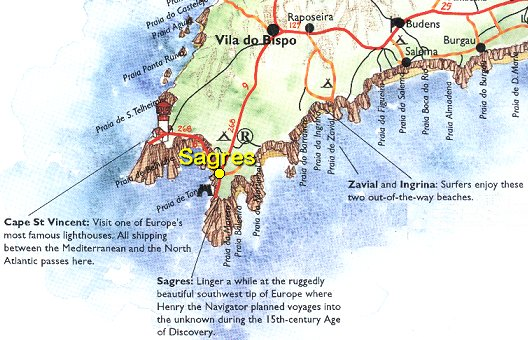Sagres Around And About - Portugal map sagres